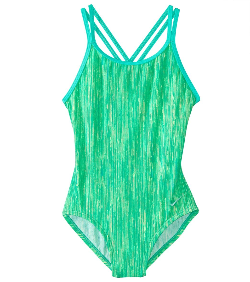98dd6f077c208 Nike Girls' Spiderback One Piece Swimsuit (Big Kid) at SwimOutlet.com