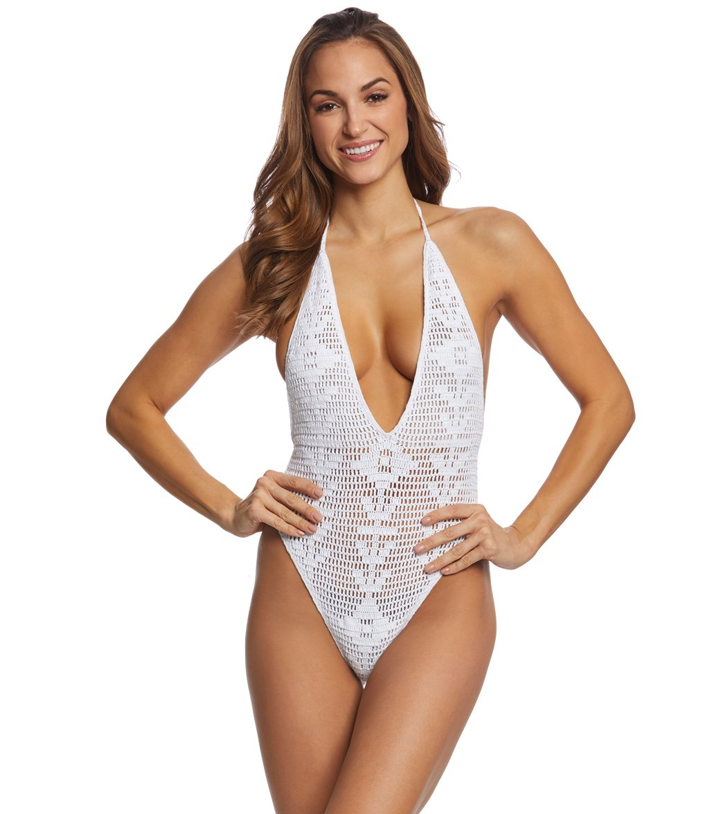 Indah Drew Crochet One Piece Swimsuit At Swimoutletcom Free Shipping