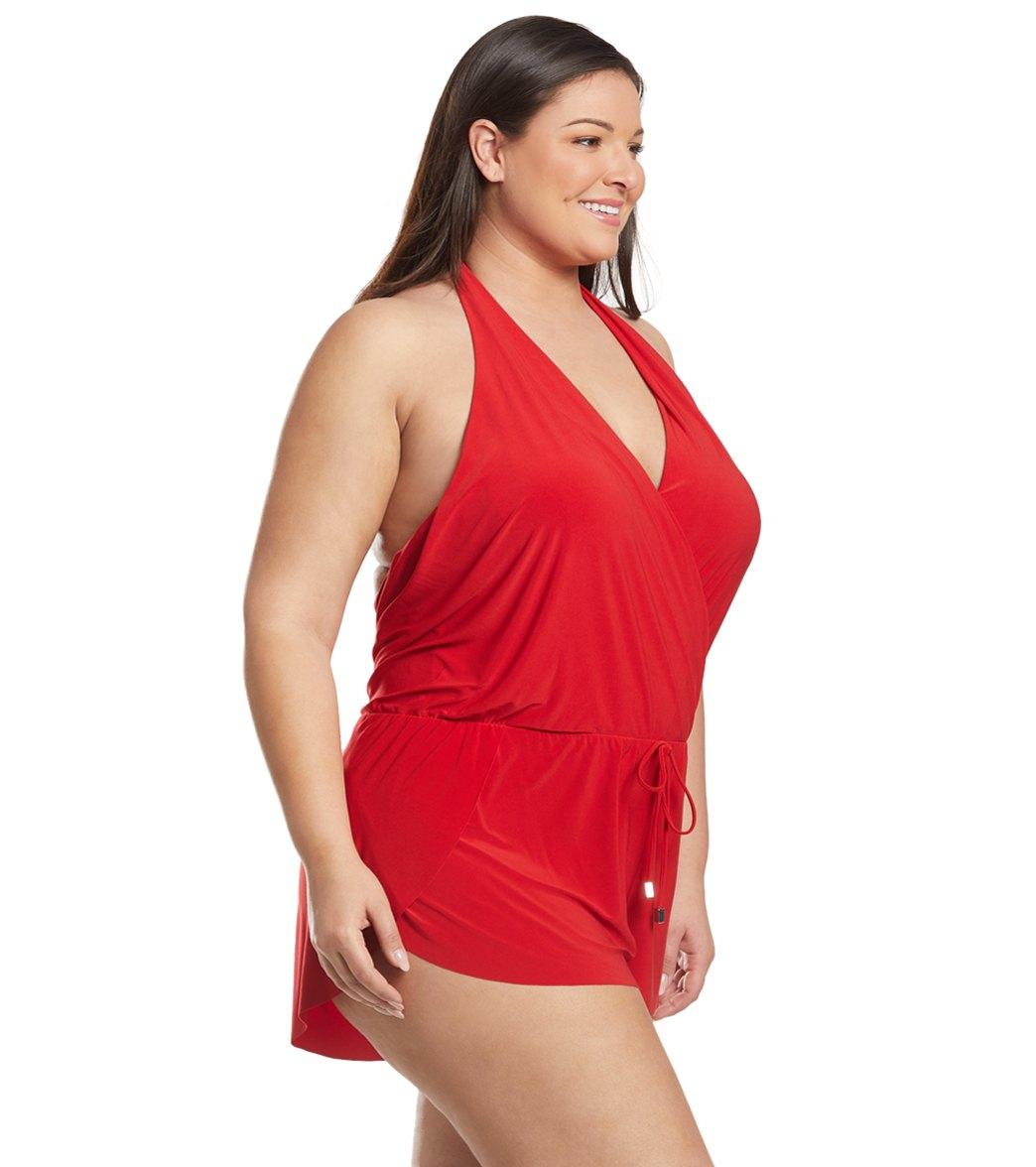 404dd9150aa Magicsuit by Miraclesuit Plus Size Bianca Swim Romper at SwimOutlet ...