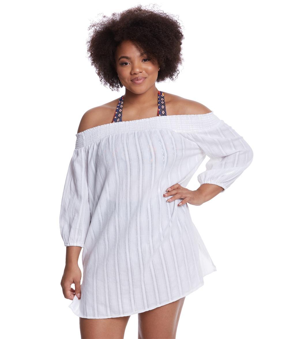 79419e7611 Lauren Ralph Lauren Plus Size Dobby Smock Tunic at SwimOutlet.com - Free  Shipping