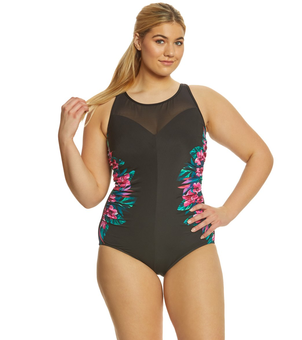f5de568479dc5 ... Miraclesuit Plus Size Tahitian Temptress Fascination One Piece Swimsuit  Play Video. MODEL MEASUREMENTS