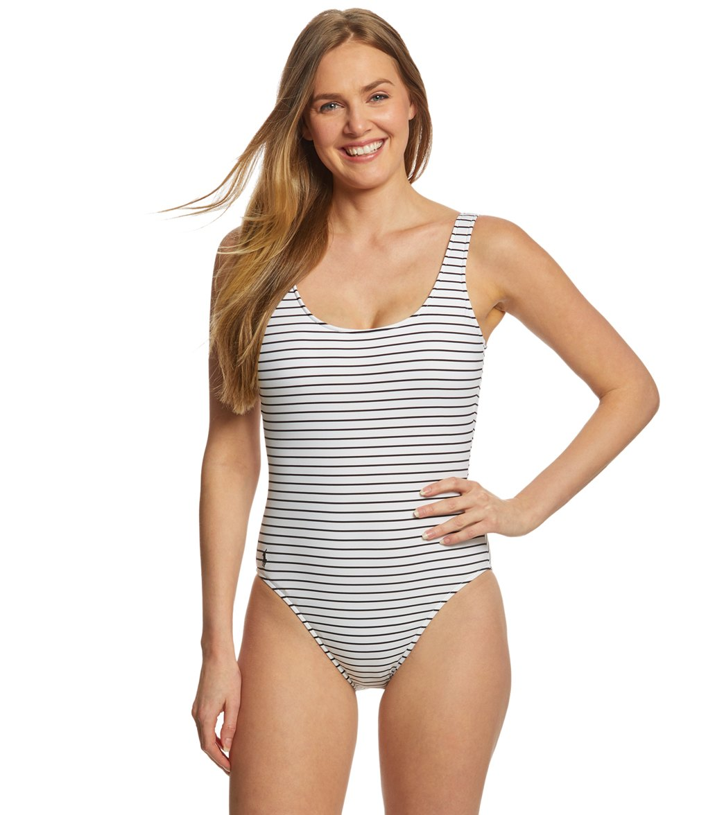 f1504a8632b ... Stripes Lace Back One Piece Swimsuit. Play Video. MODEL MEASUREMENTS