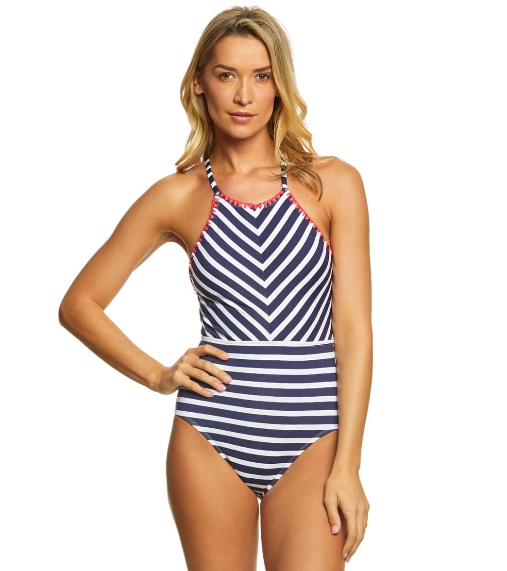 ef52a12db0 Tommy Bahama Breton Stripe High Neck One Piece Swimsuit at SwimOutlet.com -  Free Shipping