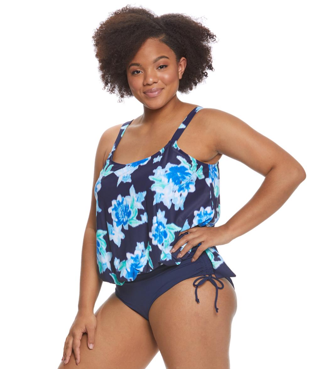 5372166450f28 Beach House Plus Size Bungalow Bay Flower Sarah Tankini Top at ...