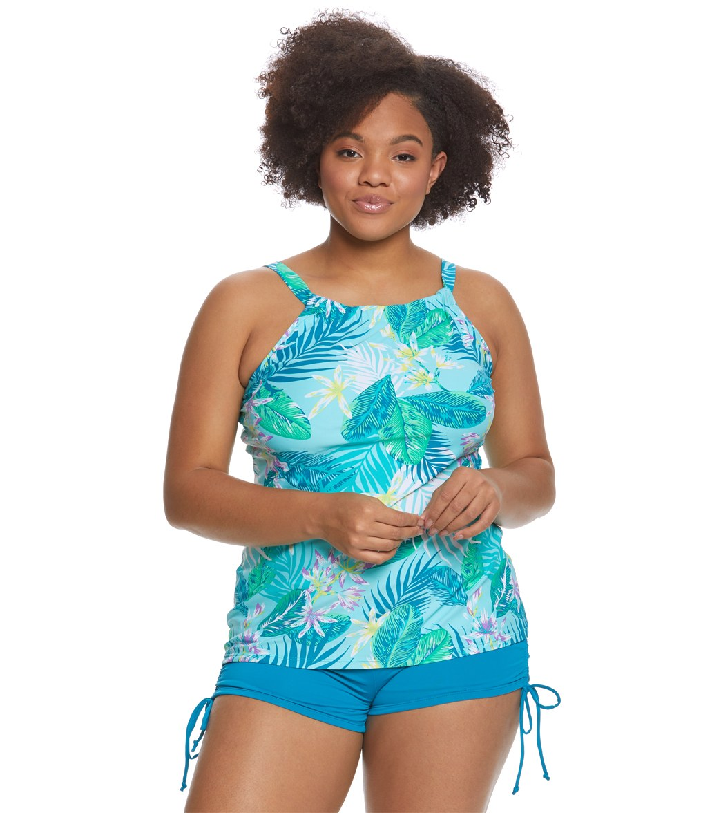 d3e0f4e859af5 Beach House Plus Size Palm Tropical Blair Tankini Top at SwimOutlet.com -  Free Shipping