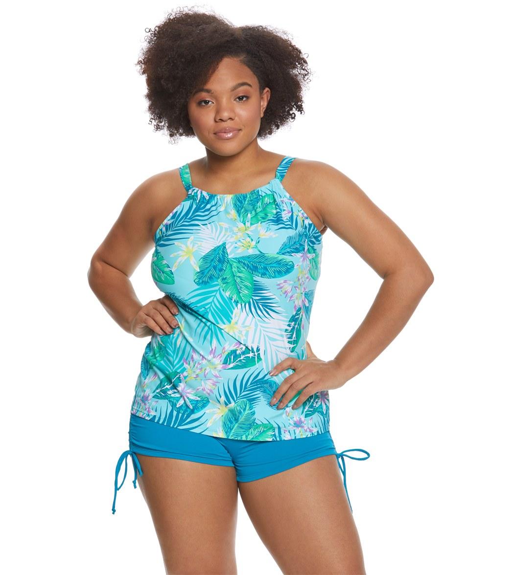 2984c51c3b2 Beach House Plus Size Palm Tropical Blair Tankini Top at SwimOutlet ...