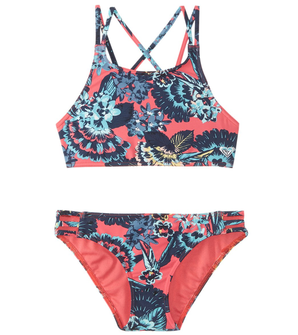 0a137e40a3 Roxy Girls' Let The Surf Crop Top Swimwear Set (Big Kid) at SwimOutlet.com