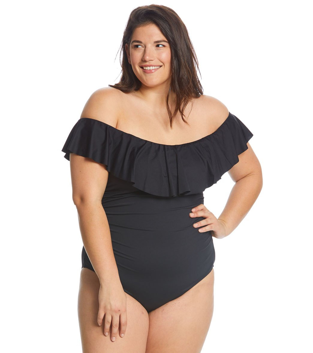 93423c68b57bd La Blanca Plus Size Island Goddess Off The Shoulder One Piece Swimsuit at  SwimOutlet.com - Free Shipping