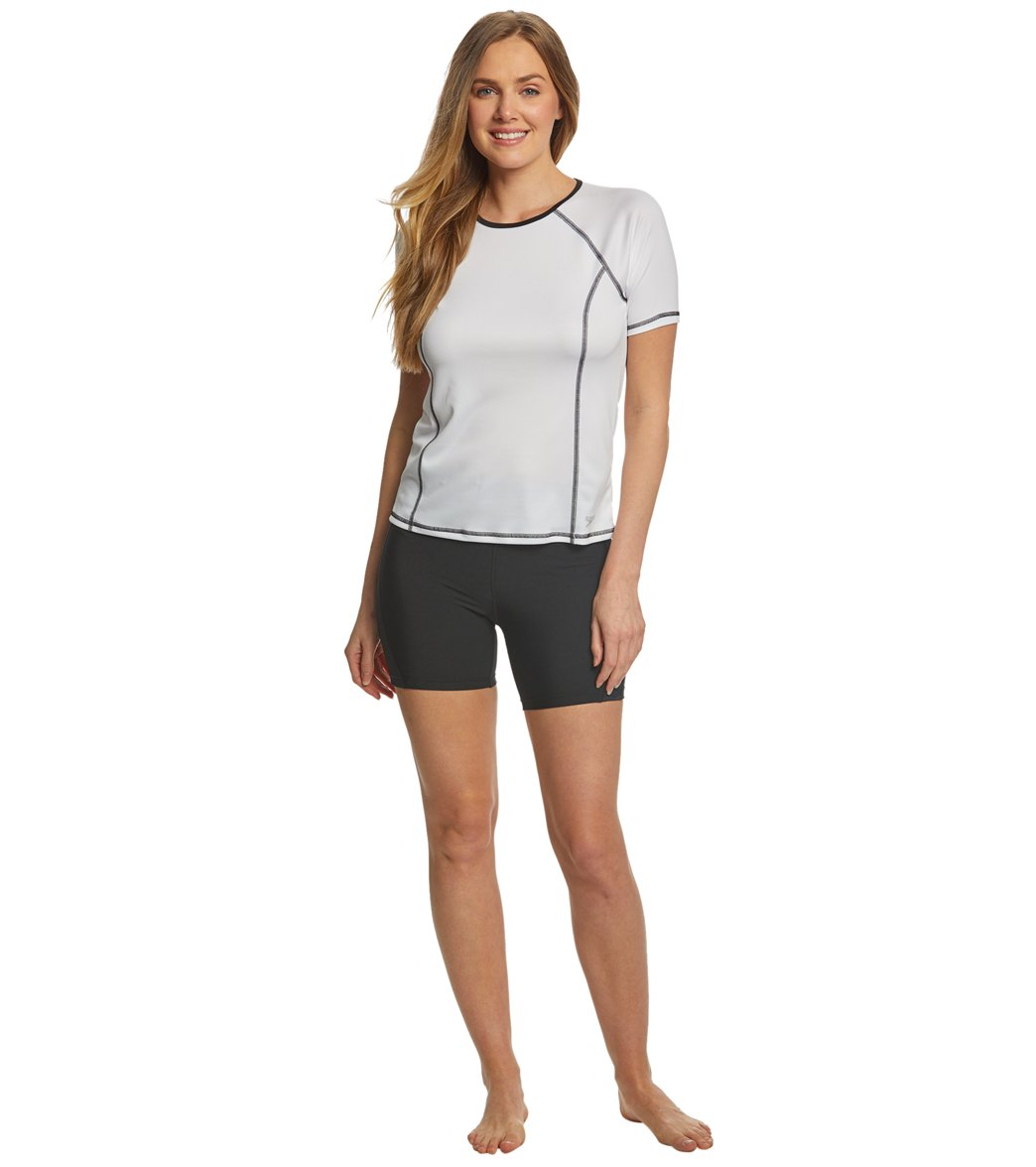 a2116d20e70 Speedo Women's Short Sleeve Swim Tee. Speedo Black; White