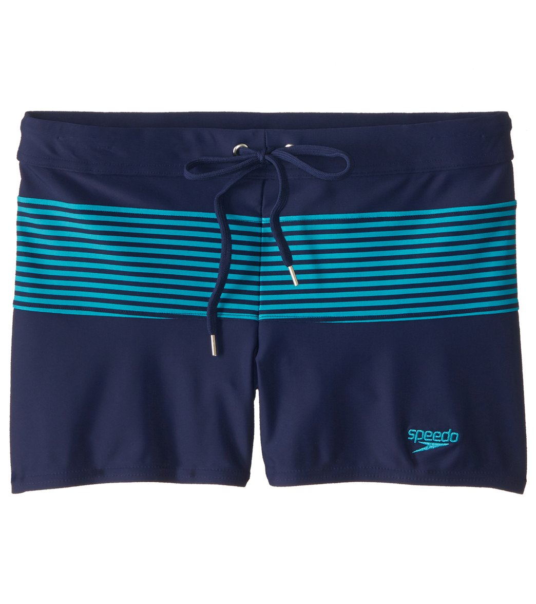 7e11be9b39 Speedo Men's Stripe Splice Square Leg Swimsuit at SwimOutlet.com