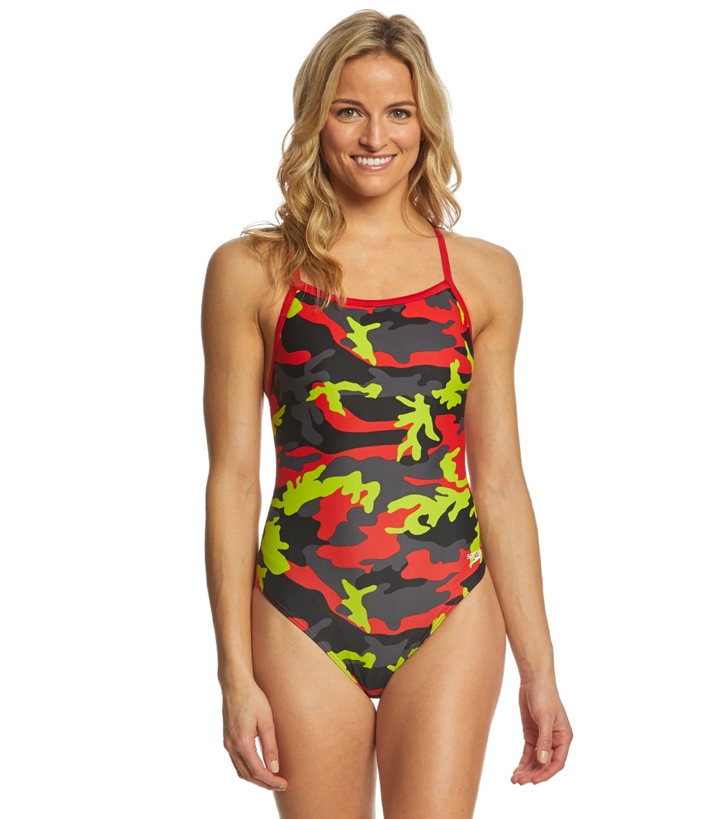 abd1e4297405d Speedo Women s Camo Squad Flyback One Piece Swimsuit at SwimOutlet.com -  Free Shipping