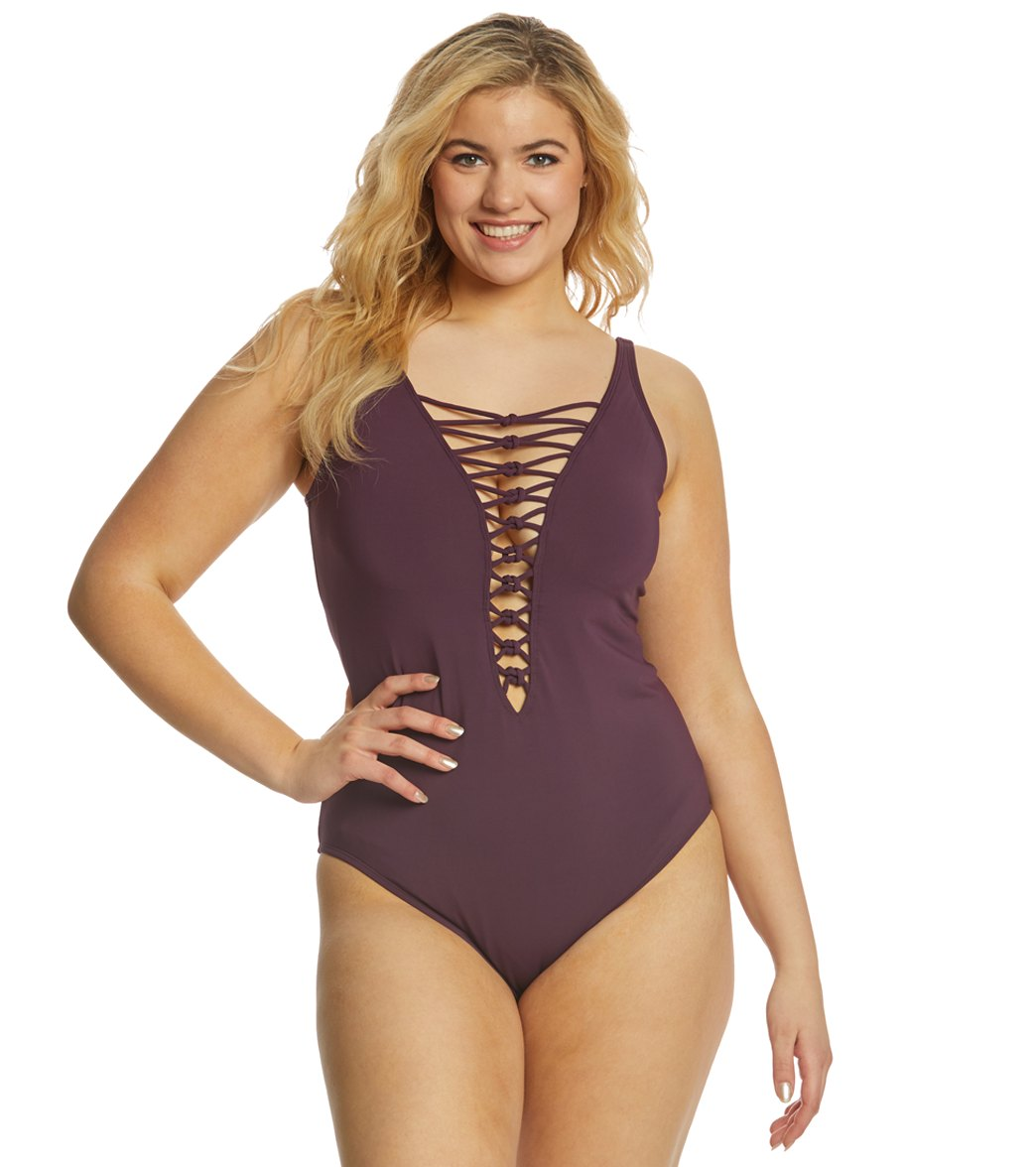 8d048b4d72f31 BLEU Rod Beattie Plus Size Oh So Knotty Lace Down One Piece Swimsuit at  SwimOutlet.com - Free Shipping