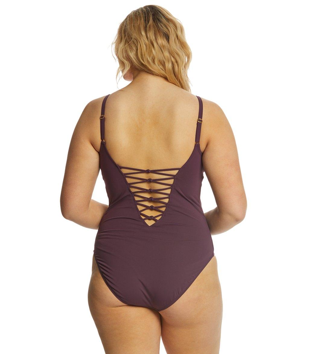 38e31183de6e7 BLEU Rod Beattie Plus Size Oh So Knotty Lace Down One Piece Swimsuit ...
