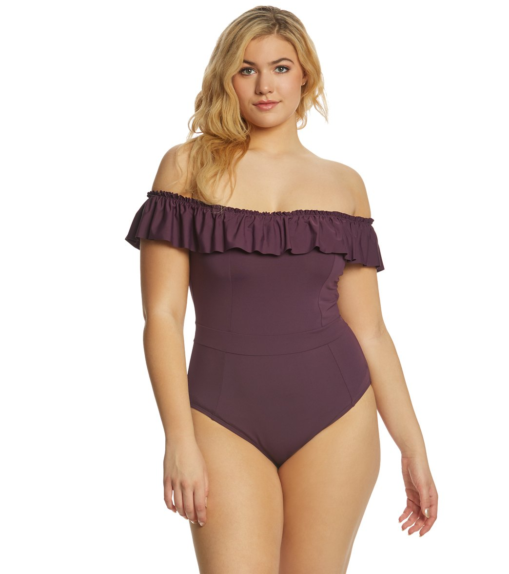 992d4cf89d BLEU Rod Beattie Plus Size Coast To Coast Off The Shoulder One Piece  Swimsuit at SwimOutlet.com - Free Shipping
