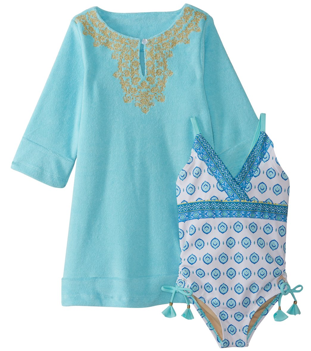 25cc9466c7 Cabana Life Girls  Hidden Cove Swimsuit and Cover Up Set (Toddler ...