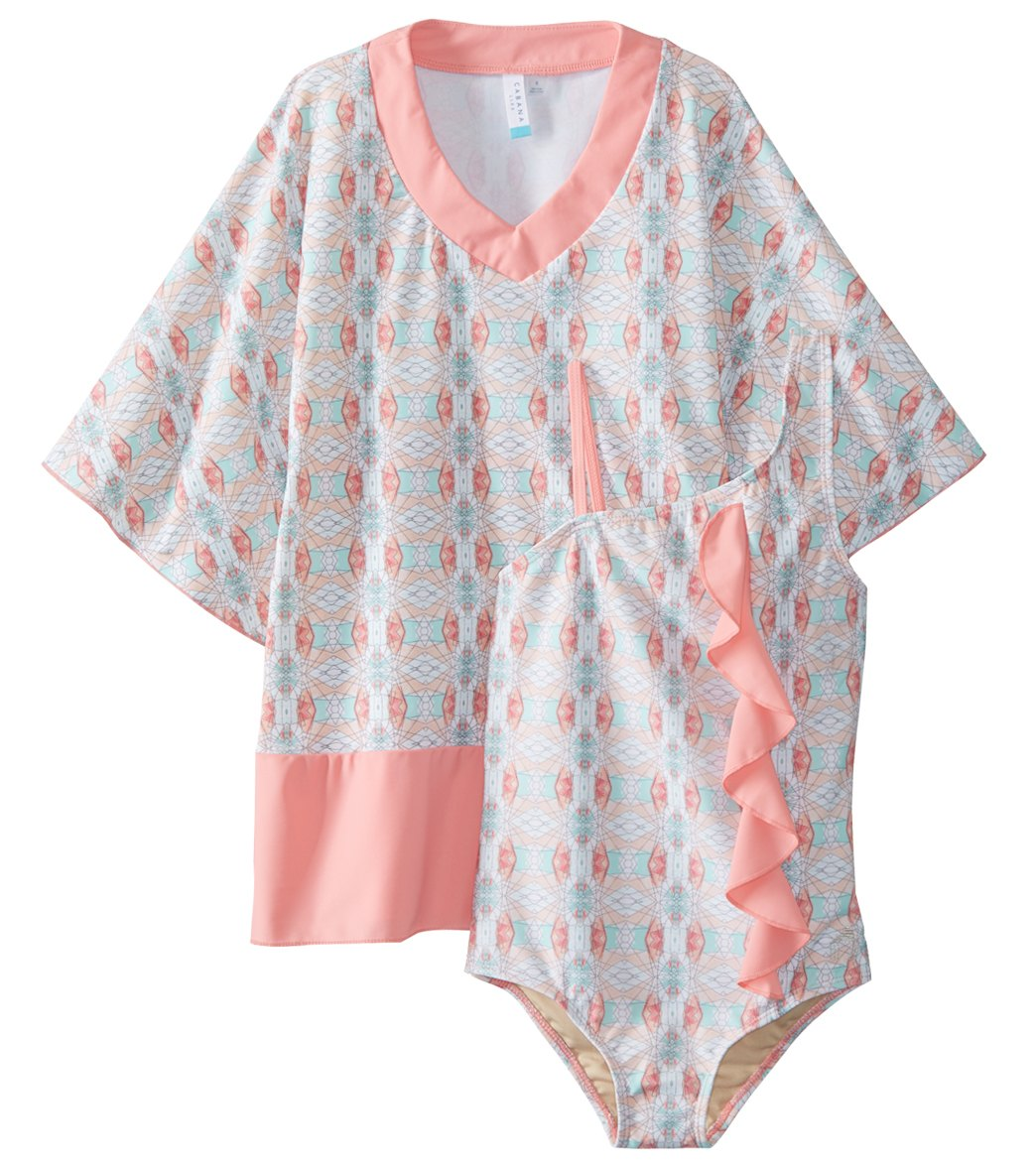 bad95cb028 Cabana Life Girls  Bunglo Beach Swimsuit and Cover Up Set (Little Kid) at  SwimOutlet.com - Free Shipping