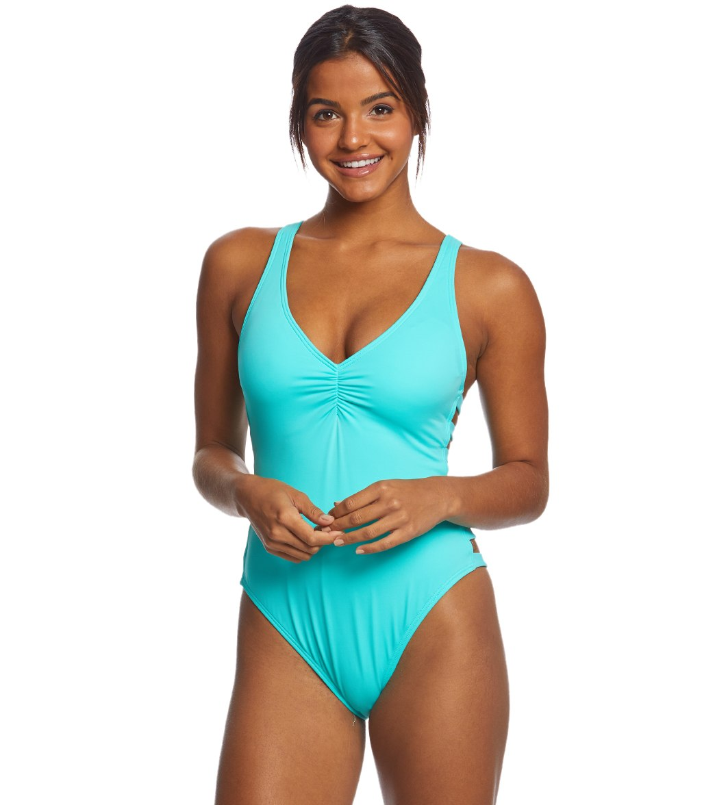 b79d8c0b86c4d Coco Rave Solid Paula Strappy Sides One Piece Swimsuit at SwimOutlet.com - Free  Shipping