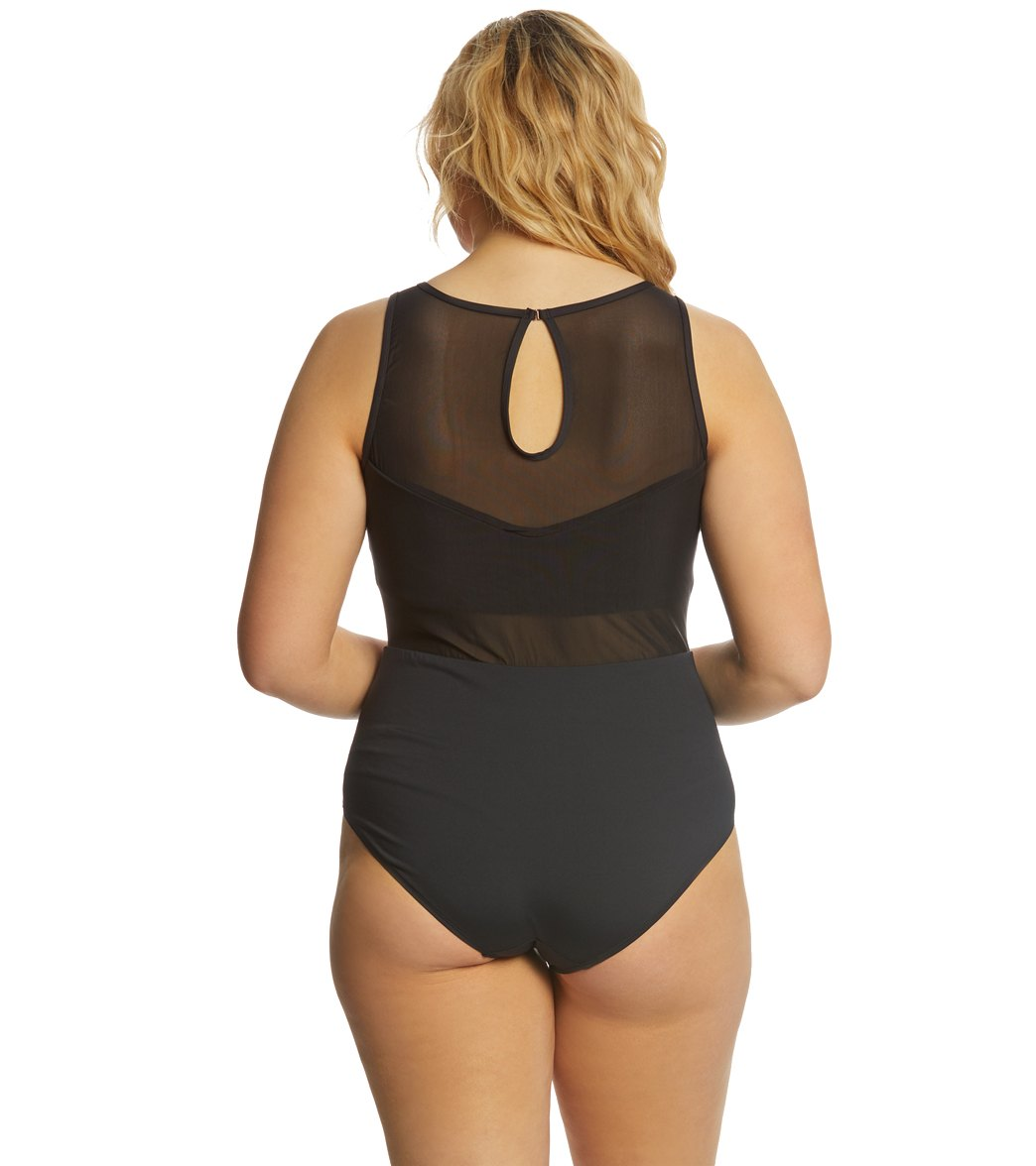 50246309cd6 Anne Cole Plus Size That's A Wrap Embroidery High Neck One Piece Swimsuit