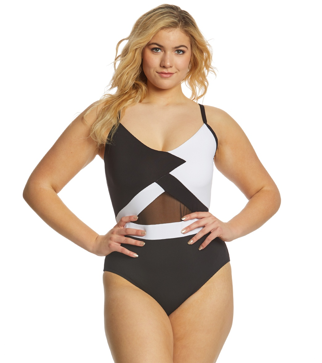 304762afa16 Anne Cole Plus Size That s A Wrap Mesh One Piece Swimsuit at SwimOutlet.com  - Free Shipping
