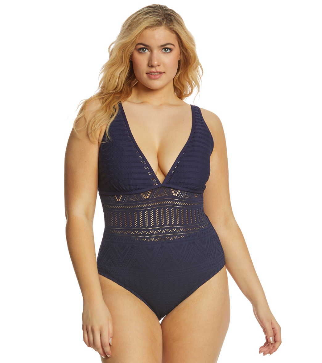 99290a081b1b5 Anne Cole Plus Size Crochet All Day Plunge One Piece Swimsuit at ...