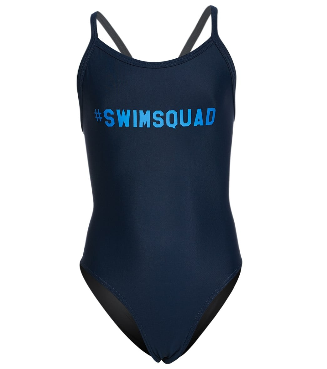 eef40cc38e8ae iSwim Hashtag Swim Squad Thin Strap One Piece Swimsuit Youth (22-28) at  SwimOutlet.com