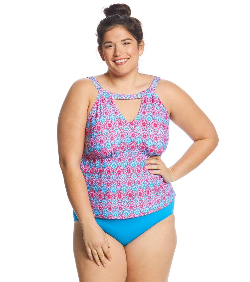26fba2c4212 Sunsets Curve Plus Size Stained Glass Hannah High Neck Tankini Top (C/D Cup