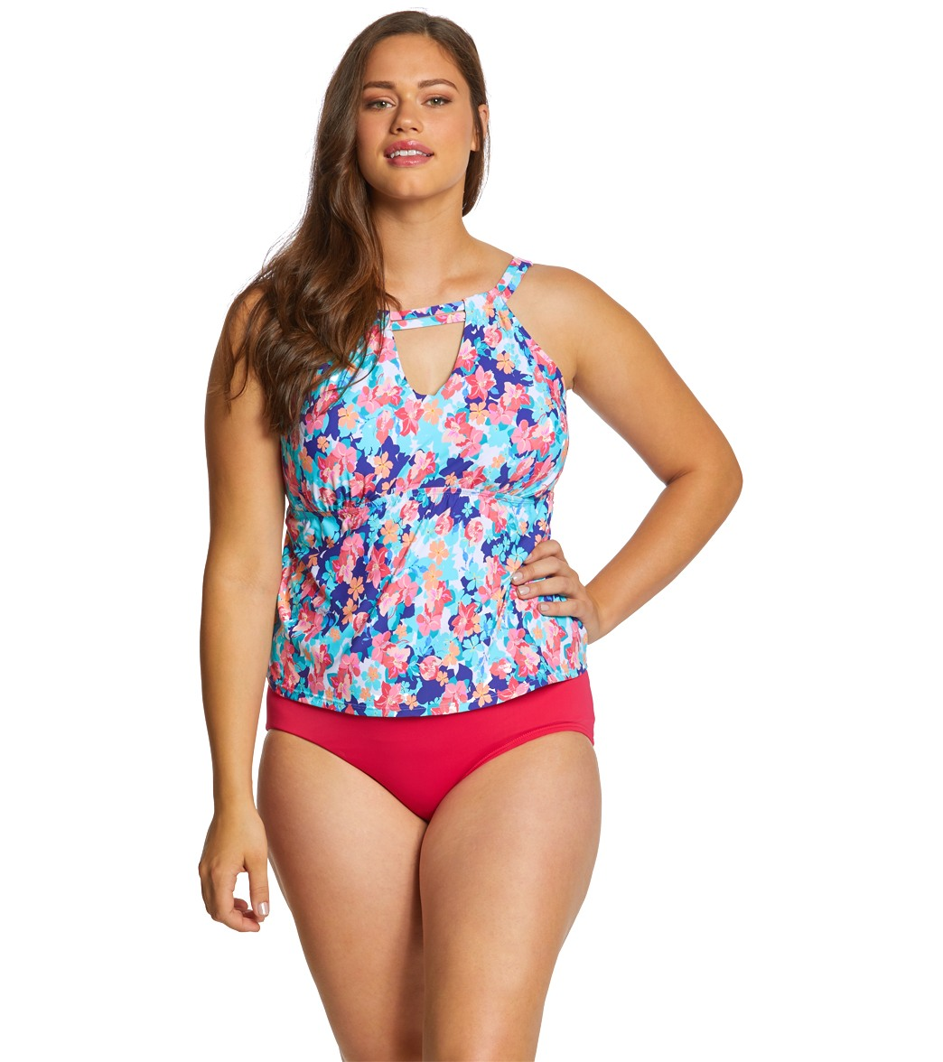 50b66a66711 Sunsets Curve Plus Size Flower Bed Hannah Hi-Neck Tankini Top (F/G ...