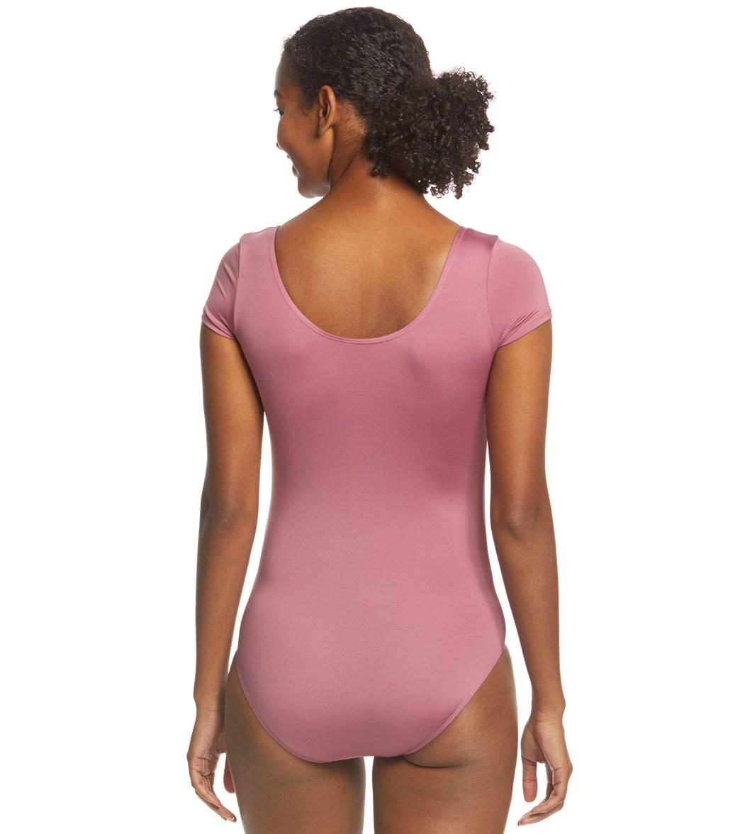 e40e772cf6 Danskin Scoopneck Short Sleeve Yoga & Dance Leotard at YogaOutlet.com