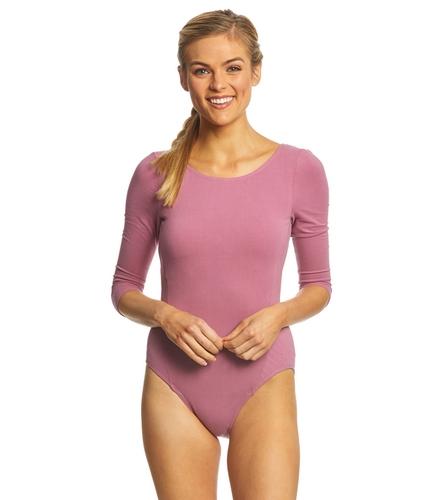 9f39367ed7 Danskin 3/4-Length Quilted Cotton-Blend Yoga & Dance Leotard at  YogaOutlet.com
