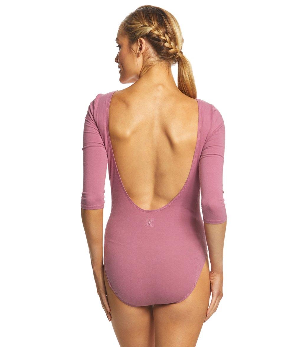 bd46b61994 Danskin 3/4-Length Quilted Cotton-Blend Yoga & Dance Leotard at ...