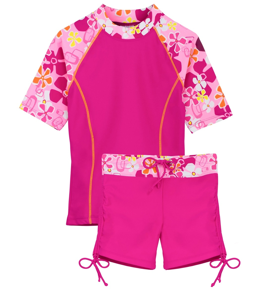 dc5ce8d753 Tuga Girls' Retro Swirl Surfer Girl Two Piece Rash Guard Set (Little Kid,  Big Kid) at SwimOutlet.com