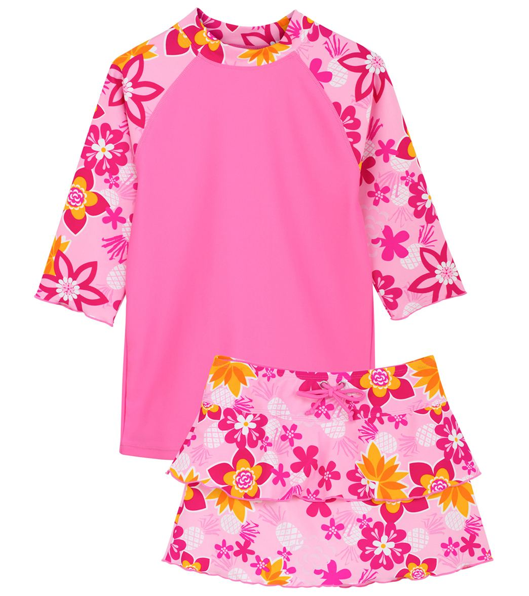 14a48d6840 Tuga Girls' Tropical Punch Tropical Breeze 3 Piece Rash Guard Set (Toddler,  Little Kid, Big Kid) at SwimOutlet.com - Free Shipping