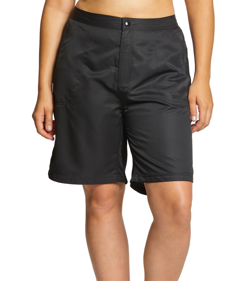 58e50ec05e Sporti Women's Plus Size Solid Woven Long Board Short
