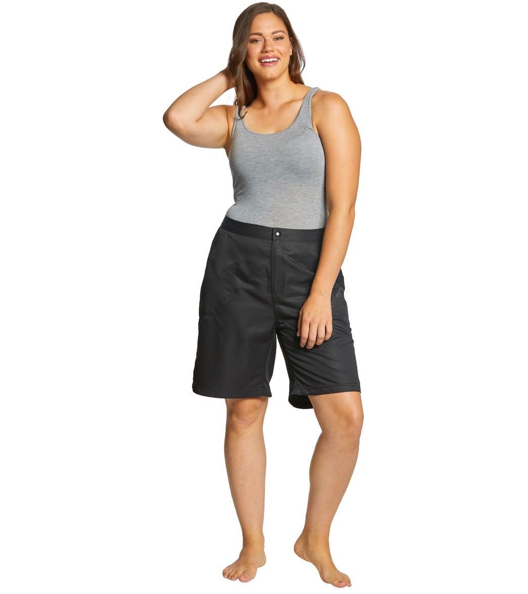 4eefe4a1c79 Sporti Women s Plus Size Solid Woven Long Board Short
