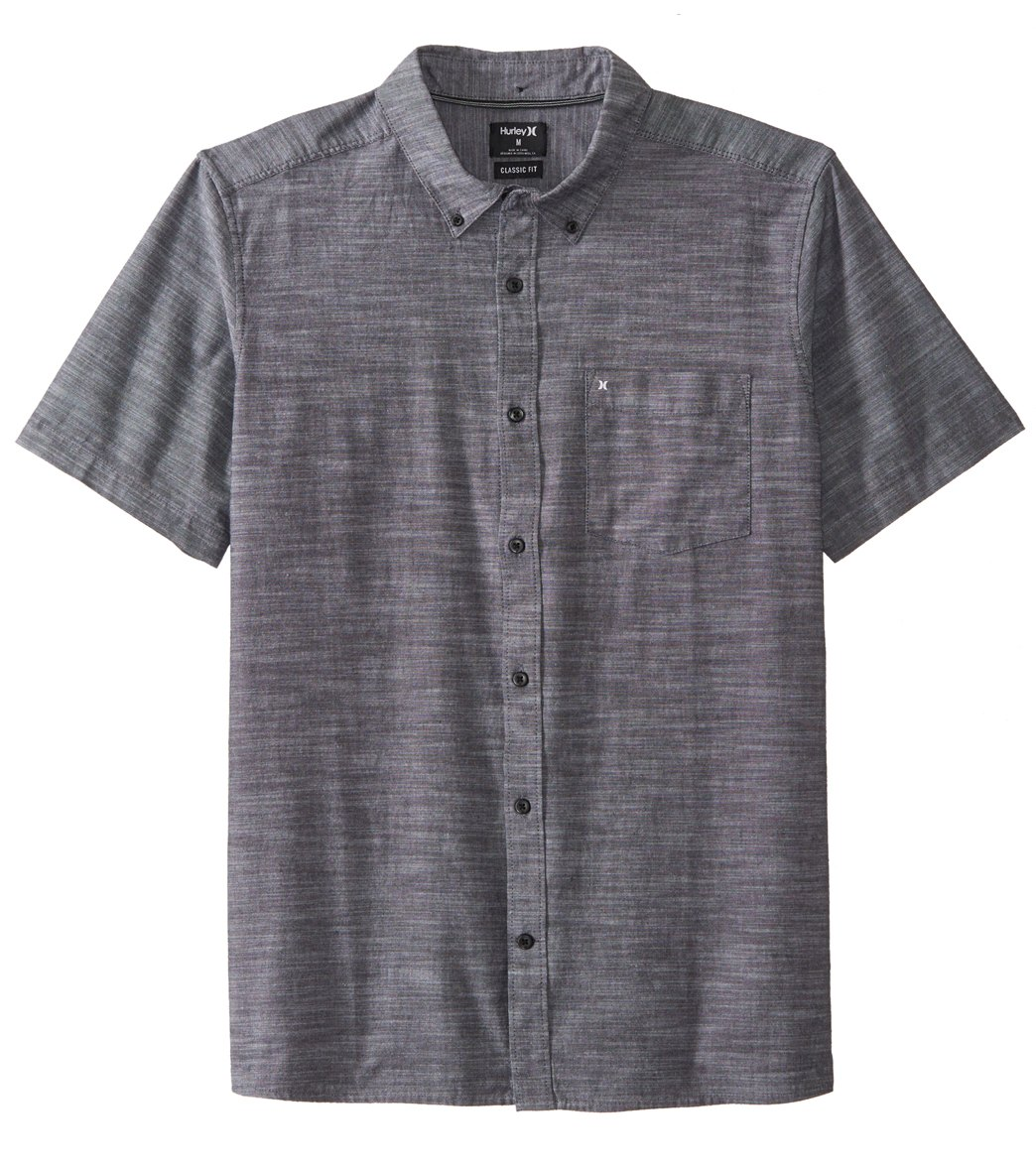 Hurley Mens One /& Only Textured Short Sleeve Button Up L Obsidian