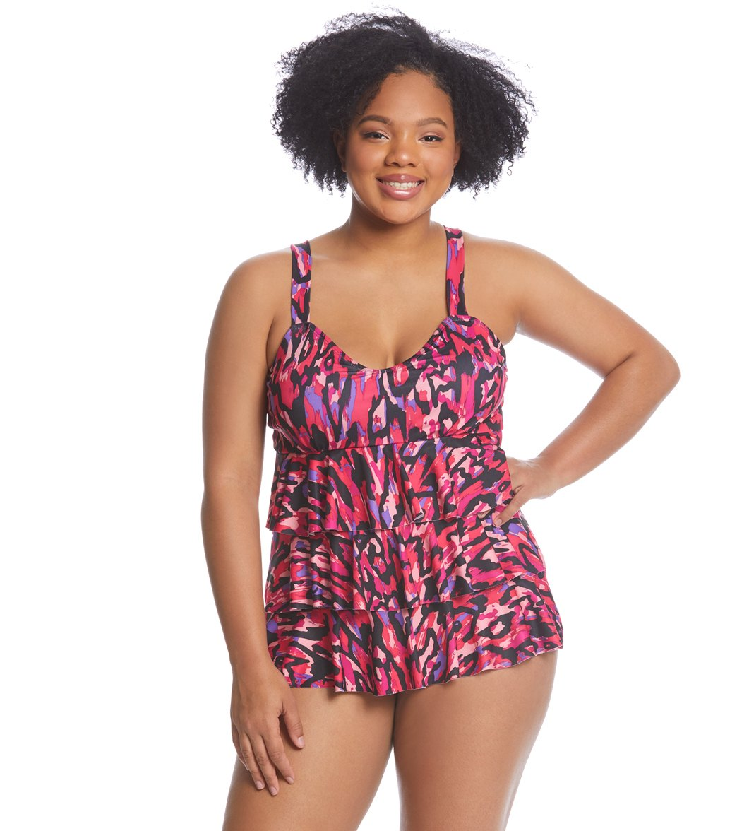 f7f828391e68b Dolfin AquaShape Women s Plus Size Ikat Ruffle Tier One Piece Swimsuit at  SwimOutlet.com - Free Shipping