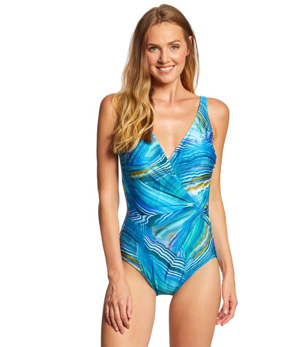 588d1fb0986526 Gottex Tourmaline Surplice One Piece Swimsuit at SwimOutlet.com - Free  Shipping