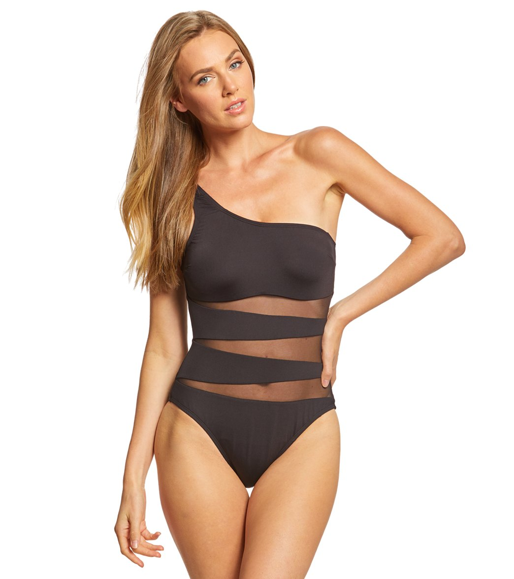 655c927f8fd Kenneth Cole Sexy Solid One Shoulder One Piece Swimsuit at SwimOutlet.com -  Free Shipping