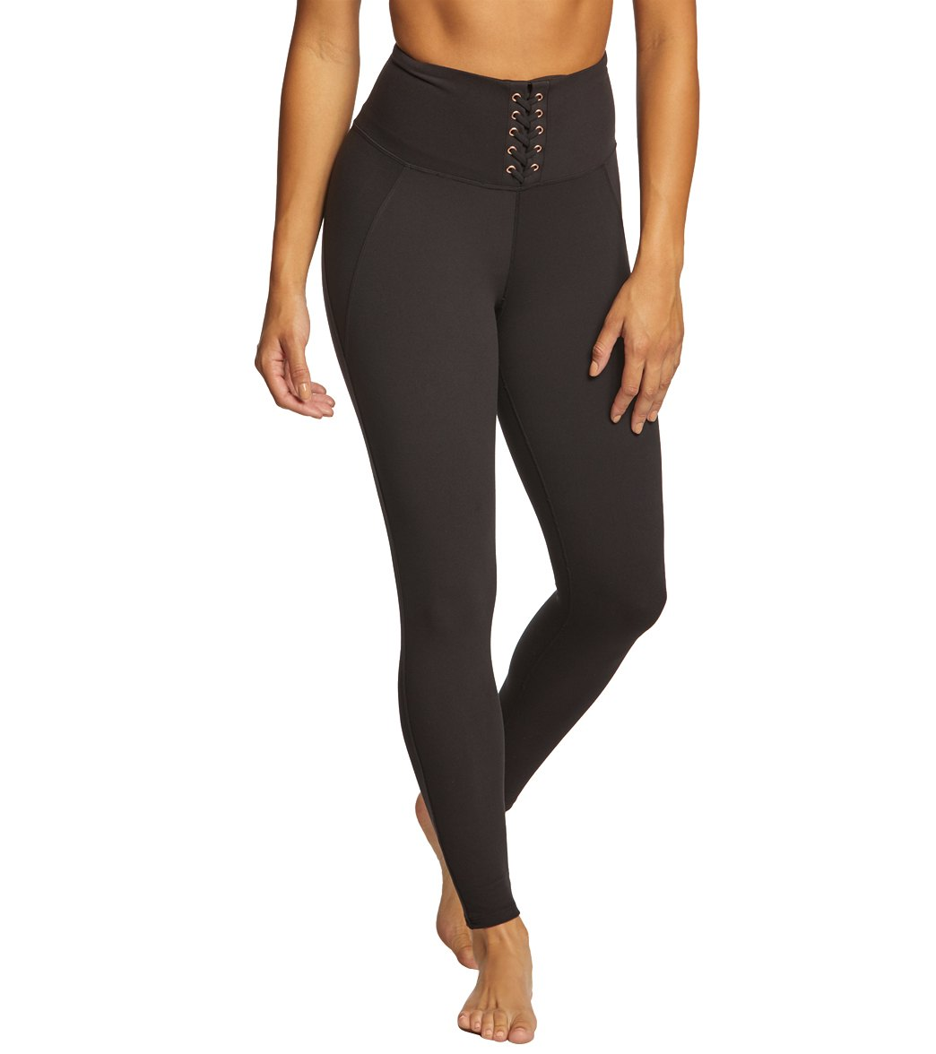 ee6f5a20f29289 Betsey Johnson Performance High Waisted Lace Up 7/8 Yoga Leggings at  SwimOutlet.com - Free Shipping