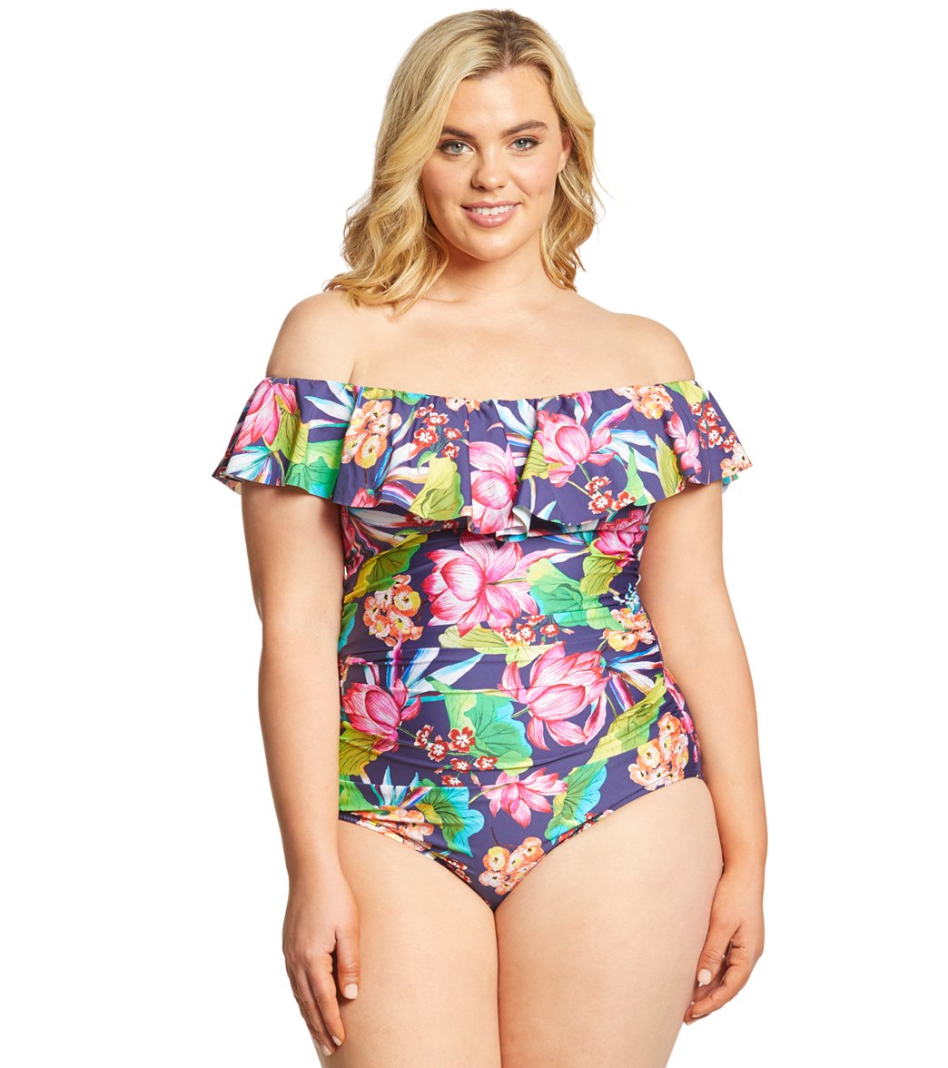264ecf6d2c107 La Blanca Plus Size Bora Bora Off The Shoulder One Piece Swimsuit at  SwimOutlet.com - Free Shipping