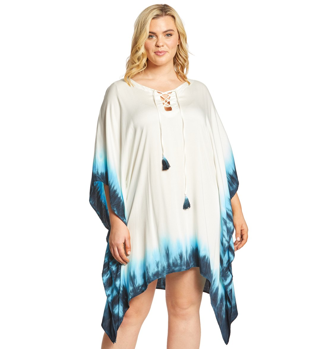 3c64a4fd947f0 La Blanca Plus Size St. Tropez Lace Up Tunic at SwimOutlet.com - Free  Shipping
