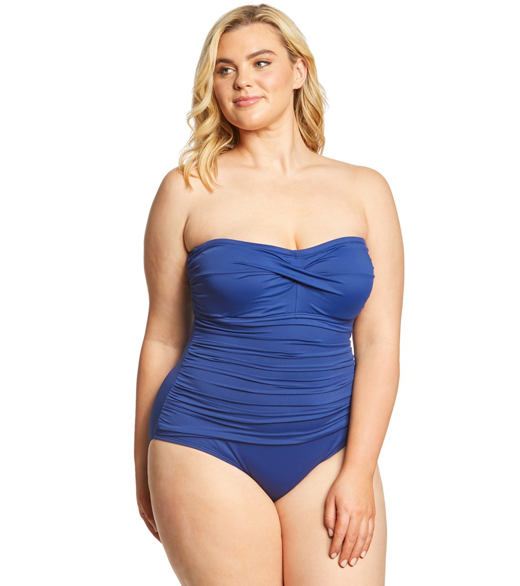 bf989fad01 Lauren Ralph Lauren Plus Size Beach Club Solid Twist Bandeau One Piece Swimsuit  at SwimOutlet.com - Free Shipping