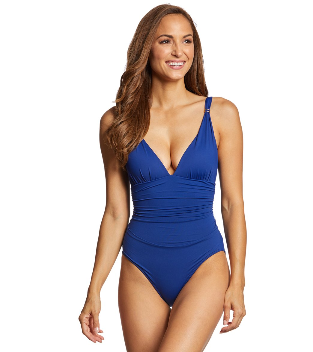 d43c60aa87 Lauren Ralph Lauren Beach Club Solid Slimming Fit Corset One Piece Swimsuit  at SwimOutlet.com - Free Shipping