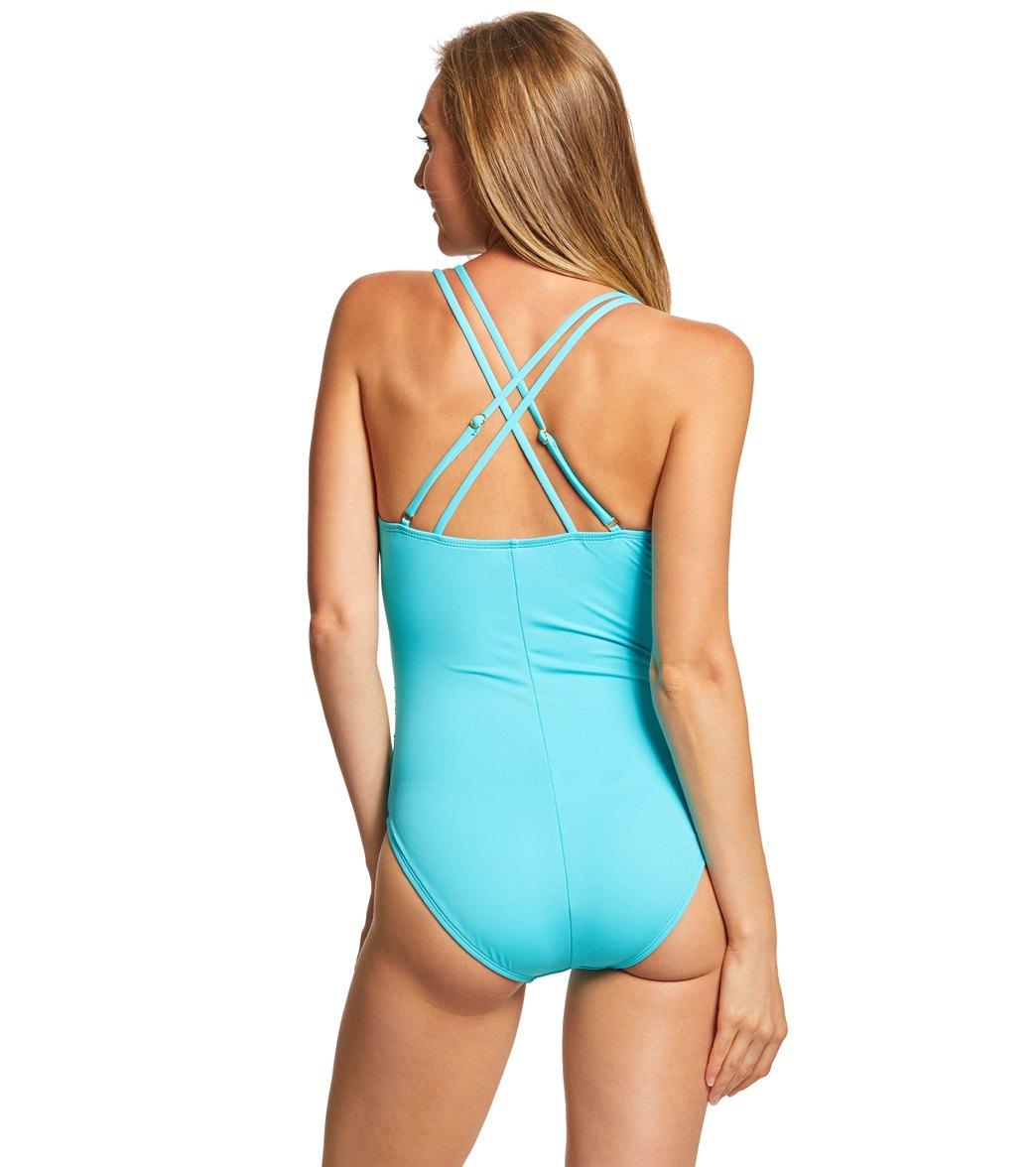 fabb5cf435e14 La Blanca Island Goddess Underwire Surplice One Piece Swimsuit at ...