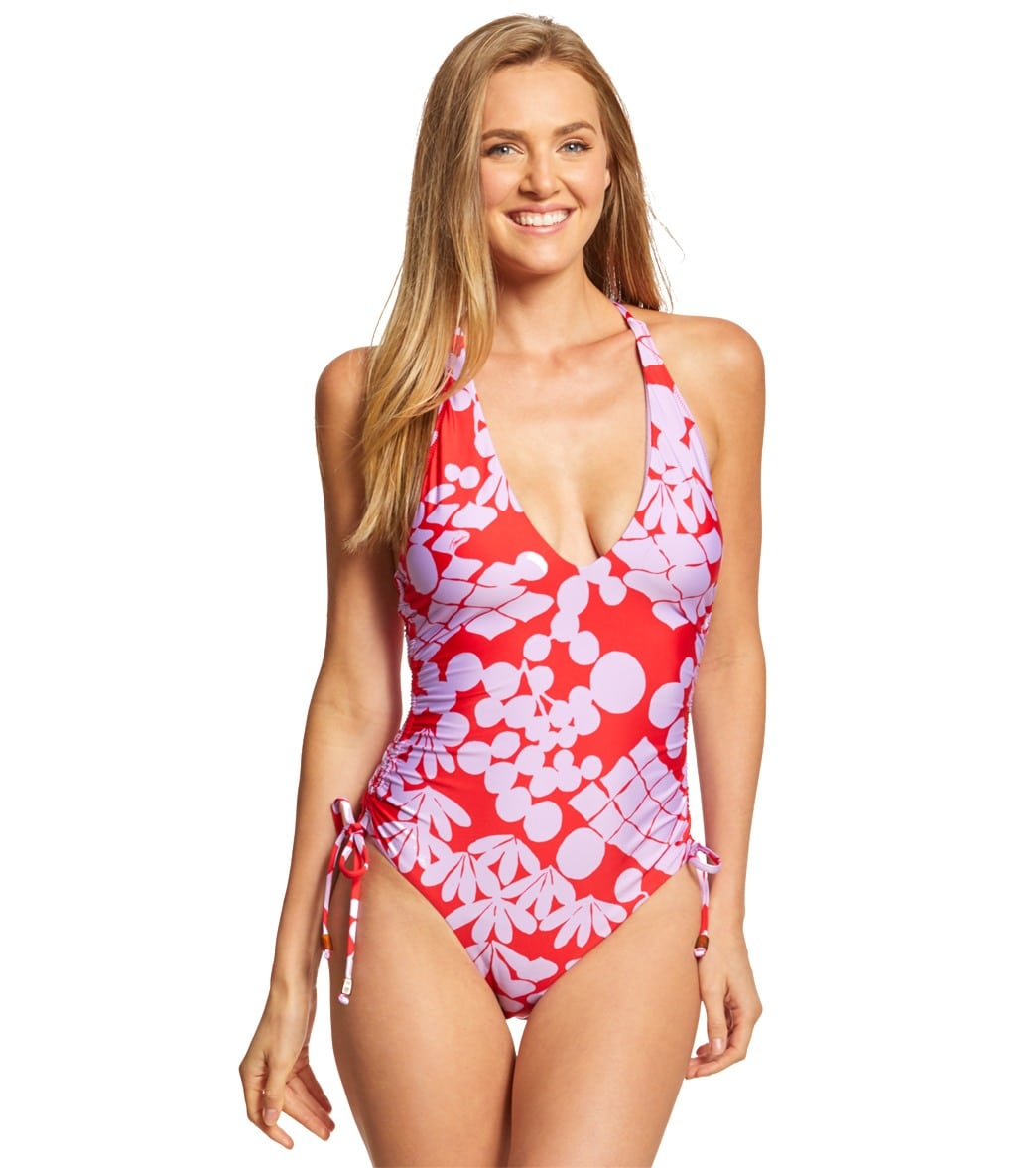 c3ec4b1f60182 Trina Turk Bali Blossoms High Leg One Piece Swimsuit at SwimOutlet.com -  Free Shipping