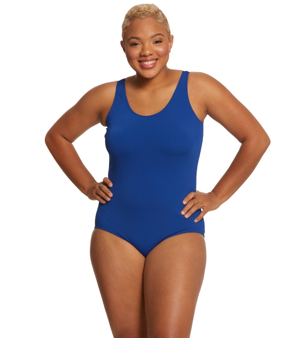 caf85609d9b7d Sporti Plus Size Gianna Chlorine Resistant Conservative Scoop Back Girl Leg One  Piece Swimsuit
