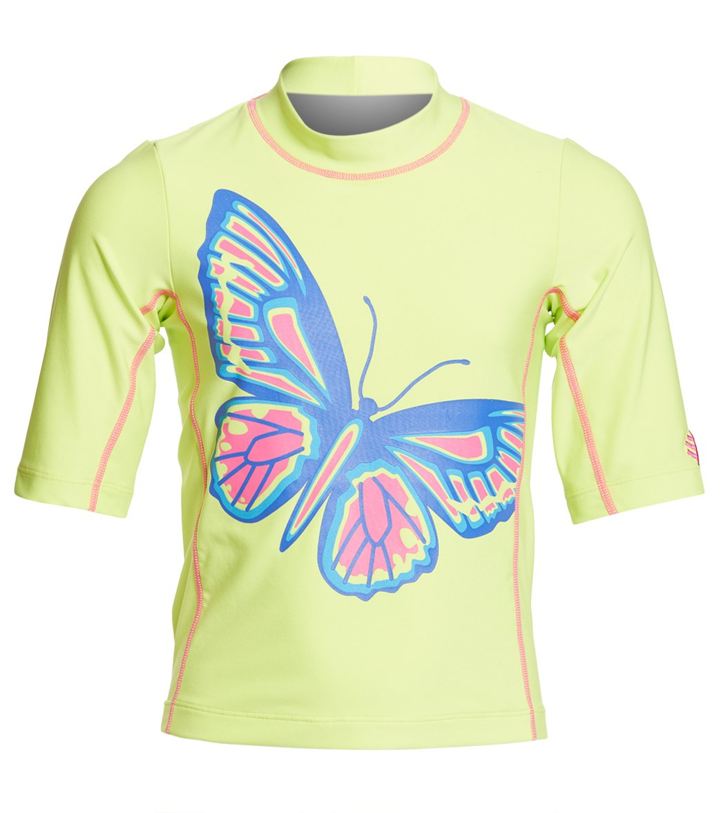 c538d881428ae Coolibar Girls' UPF 50 Printed Short Sleeve Surf Shirt at SwimOutlet.com