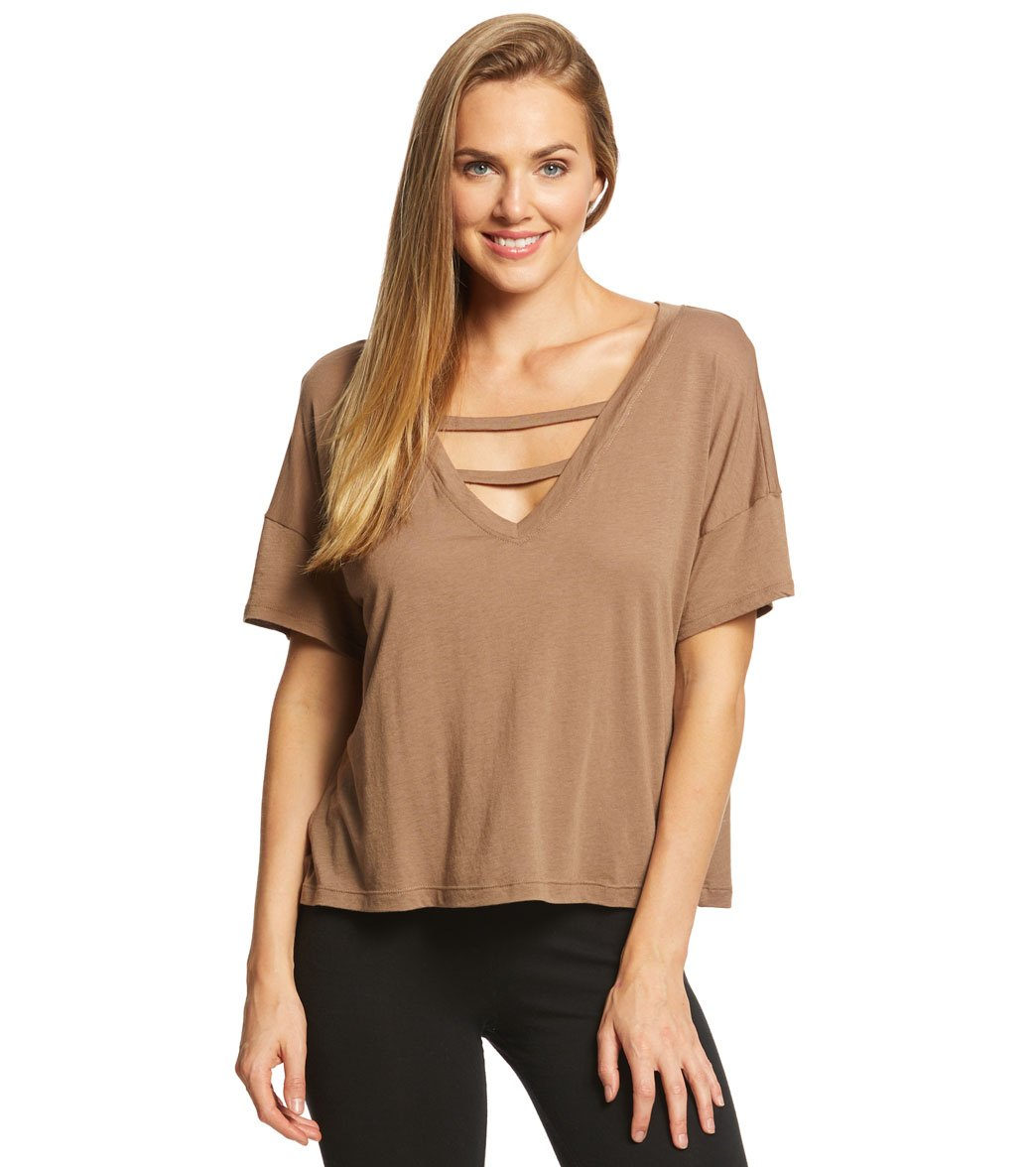 27b15baee91eae Beyond Yoga Full Eclipse V-Neck Tee at SwimOutlet.com - Free Shipping