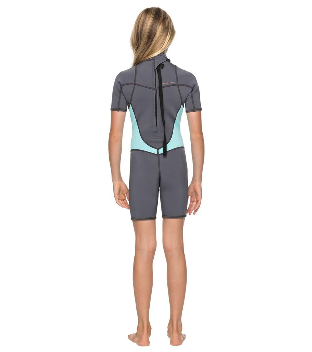 166d3336f Roxy Girls  2MM Syncro Series Short Sleeve Back Zip FLT Springsuit (Big Kid)