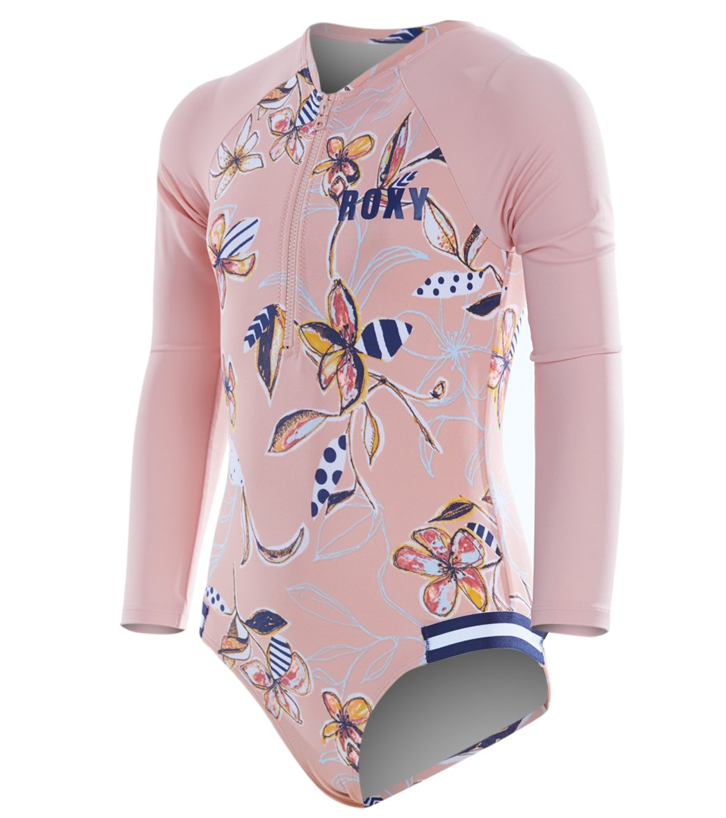 38c8206319 Roxy Girls' Long Sleeve Zip One Piece Rashguard Swimsuit (Toddler ...